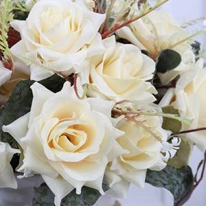 Yiliyajia Artificial Flowers In Vase Silk Rose Flower Arrangements Fake Faux Flowers Bouquets With Ceramics Vase Table Centerpieces For Easter Holiday Dinning Room Table Kitchen Decoration Champagne 0 1