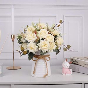 Yiliyajia Artificial Flowers In Vase Silk Rose Flower Arrangements Fake Faux Flowers Bouquets With Ceramics Vase Table Centerpieces For Easter Holiday Dinning Room Table Kitchen Decoration Champagne 0 2