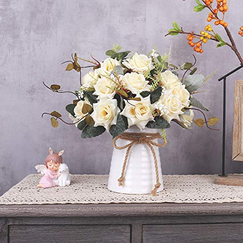 Yiliyajia Artificial Flowers In Vase Silk Rose Flower Arrangements Fake Faux Flowers Bouquets With Ceramics Vase Table Centerpieces For Easter Holiday Dinning Room Table Kitchen Decoration Champagne 0 3