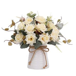 Yiliyajia Artificial Flowers In Vase Silk Rose Flower Arrangements Fake Faux Flowers Bouquets With Ceramics Vase Table Centerpieces For Easter Holiday Dinning Room Table Kitchen Decoration Champagne 0