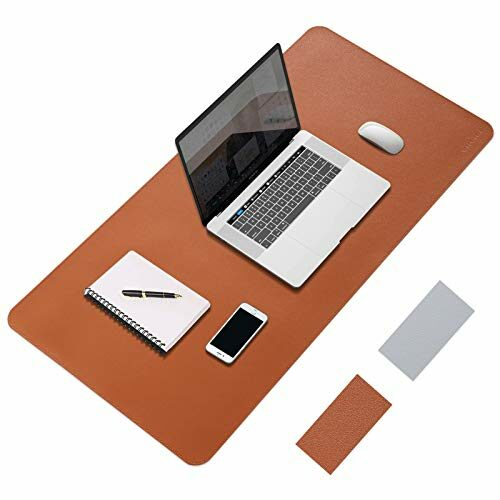 Yxlili Dual Sided Desk Pad Protector Waterproof Pu Leather Laptop Desk Mat Large Writing Pad Desk Decor For Officehome 315 X 157 Brown Silver 0