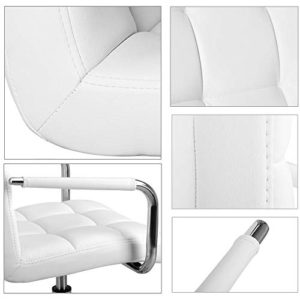 Yaheetech White Desk Chairs With Wheelsarmrests Modern Pu Leather Office Chair Midback Adjustable Home Computer Executive Chair On Wheels 360 Swivel 0 1