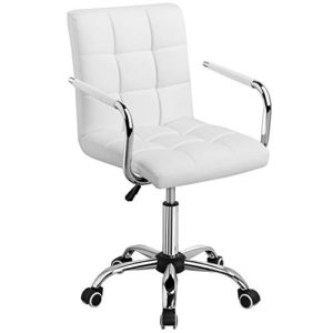 Yaheetech White Desk Chairs With Wheelsarmrests Modern Pu Leather Office Chair Midback Adjustable Home Computer Executive Chair On Wheels 360 Swivel 0