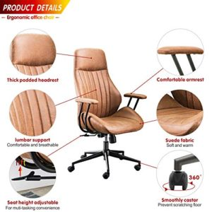 Ovios Ergonomic Office Chairmodern Computer Desk Chairhigh Back Suede Fabric Desk Chair With Lumbar Support For Executive Or Home Office Brown 0 1