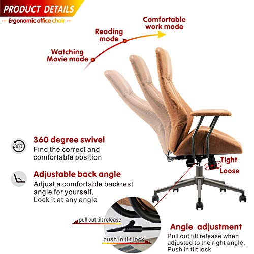 Ovios Ergonomic Office Chairmodern Computer Desk Chairhigh Back Suede Fabric Desk Chair With Lumbar Support For Executive Or Home Office Brown 0 2