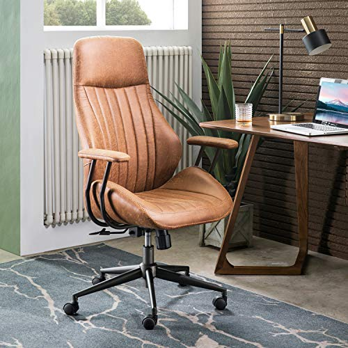 Ovios Ergonomic Office Chairmodern Computer Desk Chairhigh Back Suede Fabric Desk Chair With Lumbar Support For Executive Or Home Office Brown 0