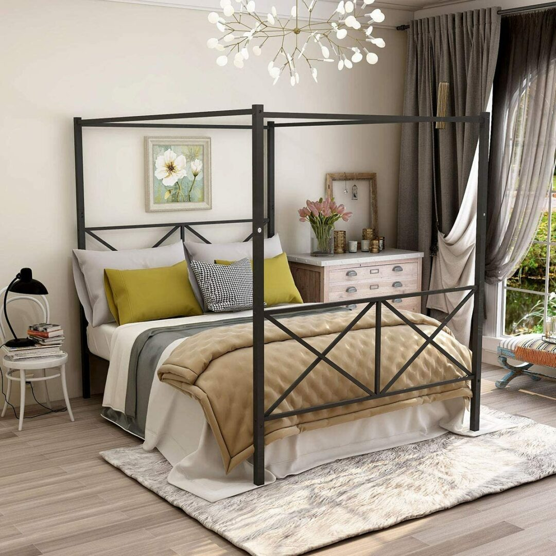 Jurmerry Full Size Metal Canopy Bed Frame With Ornate European Style Headboard