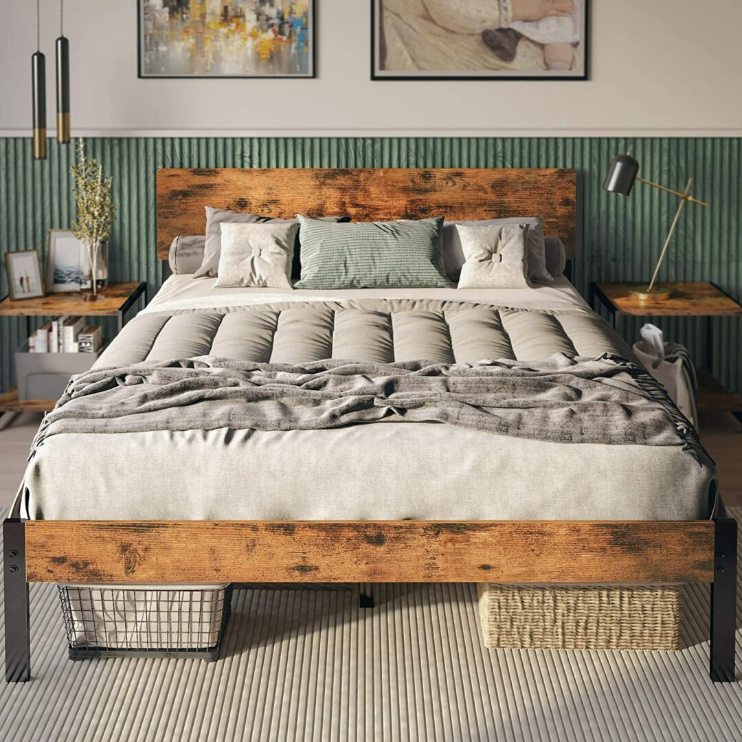 Likimio Full Bed Frame With Headboard, Strong Steel Slat Support,