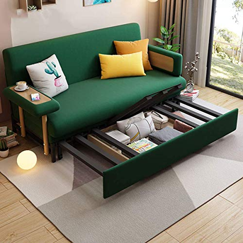 2 In 1 Folding Sofa Couch Bedloveseat Sleeper Sofa Convertible Bedpull Out Futon Couchfabric Padded Sofabed 3 Inclining Positions Sofa Settee With Armrestssofa Furniture Living Roomgreen196M 0 2