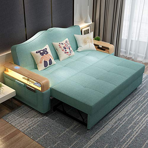 New Foldable Futon Couchconvertible Sleeper Sofa Bed With Induction Night Lightmultifunctional Storage Loveseat Pull Out Sofa For Living Room Apartment Small Space Furniturewashable185M 0 0